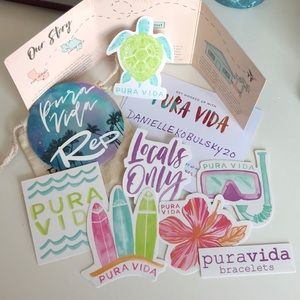 Set of 7 Pura Vida Stickers + 1 Rep Sticker